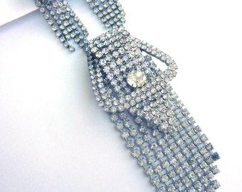 Vintage Rhinestone Chandelier Earrings Matching Brooch Clip On Wedding Jewelry