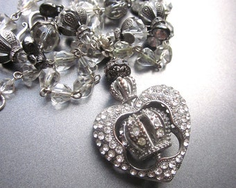 Rhinestone Statement Necklace Bridal Jewelry Repurposed Vintage Jewelry Crown Heart