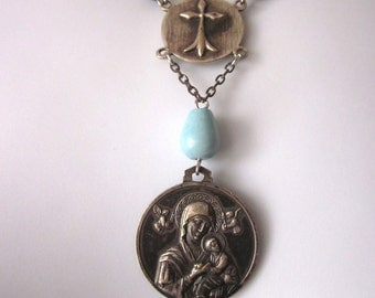 Religious Assemblage Beaded Rosary Necklace Vintage Sterling Medal Gutta Percha Rosary