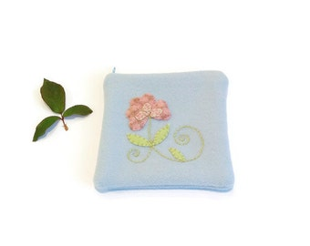 Zippered bag blue pouch embroidery applique flower pink