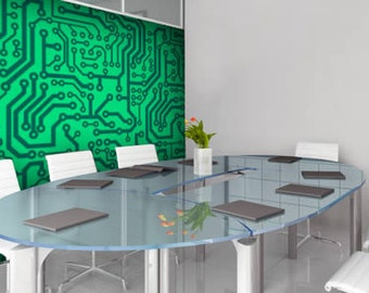 Green Computer Circuit Removable and Reusable Vinyl Wall Mural
