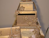 4 Sets, 3 tier Champagne Wedding  Card Box, Guest book and Pen/Pen Holder .Gift Card Box  Money Box Holder-Customize your color