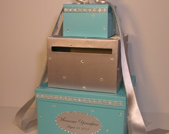 Wedding  Card Box Silver and Blue Gift Card Box Money Card Box Holder-CustomizeYour color