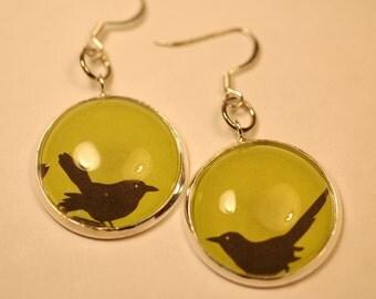 Halloween Black Bird Earrings , Halloween Earrings, Green and Black Bird Earrings