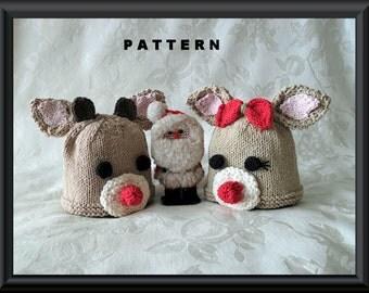 Knitted Hat Pattern Baby Hat Pattern Newborn Hat Pattern Children Clothing Christmas Baby Hat Pattern: REINDEERS
