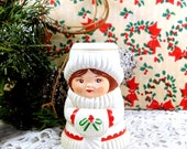 Vintage Avon Christmas Candleholder, Taper Candle, Plastic, Lady With Snow Muff, Holiday and Christmas Decor, Made in Hong Kong  (632-07)