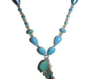 Turquoise Glass Beaded Chain Bead Soup Necklace