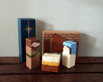Simple Wooden Nativity - Child Friendly Nativity - Nativity Gift Set - Cute Nativity - Toy Nativity Set - Hand Painted Nativity - Christmas
