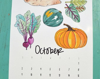 2016 Wall Calendar: Seasonal Fruits and Veggies