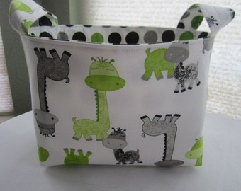 Fabric Organizer Basket Bin Storage Container - Dinosaurs Lime Green and Black