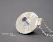 Iolite & Sterling Silver Pendant, September Birthstone, Silver Disc Jewelry, Fabricated, Metalwork by RiverGum Jewellery