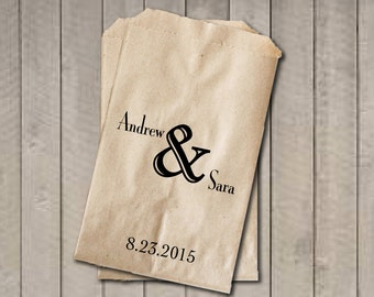 Personalized Favor Bags, Ampersand Wedding Favor Bags, Wedding Candy Bag, Engagement Party, Bridal Shower, Candy Buffet Bags, Rustic Wedding