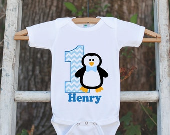Penguin Birthday Outfit - Personalized Bodysuit For Boy's 1st Birthday Party - First Birthday Blue Penguin Birthday Onepiece With Name & Age