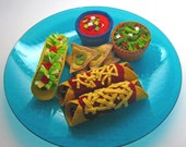 Ready Made for Immediate Shipment - Enchiladas, Taco, Chips, Salsa and Guacamole - Play Food Accessory