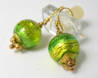 Lime Green and Gold Leaf Venetian Glass Dangle Earrings - Gold Filled Ear wires - Wire Wrapped