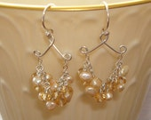 Wire Wrapped Cluster Soft Brown Fresh Water Pearls and Crystal Rondelles Sterling Silver Handmade Chandelier Earrings