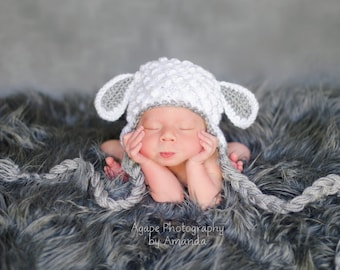 baby lamb hat, sheep hat, newborn lamb, crochet baby lamb hat, lamb photo prop, lamb newborn hat, lamb costume