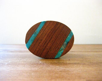 Turqouise and Walnut Brass Belt Buckle