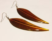 Earrings - Glittery Enameled Steel Leaf Earrings - Burnt Orange