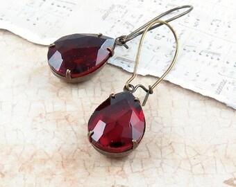 Red Rhinestone Earrings Vintage Style Earrings Green Earrings Christmas Gift