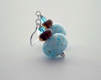 Robin's Egg Blue Earrings, Light Blue Earrings, Large Earrings, Speckled Earrings, Lampwork Glass Earrings, Beaded Earrings