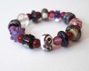 Purple Bracelet, Stretch Bracelet, Lampwork Glass Bracelet, Stone Bead Bracelet, Pink Bracelet, Beaded Bracelet