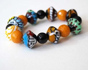 Colorful Bracelet, Stretch Bracelet, Lampwork Glass Bracelet, Beaded Bracelet, Whimsical Bracelet, Funky Bracelet, Abstract Bracelet