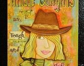 Vintage Cowgirl  Art Magnet