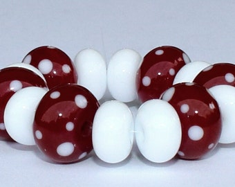 "Handmade Lampwork Beads, 14 Pieces ""Burgundy and White"", Size about 8.2 to 11.8 mm"