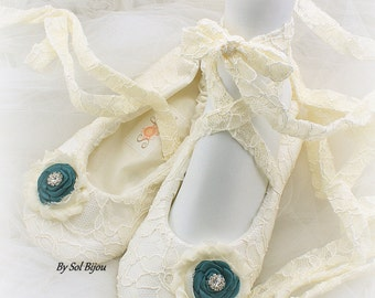 Ballet Flats, Ivory, Teal, Bridal Flats, Wedding Shoes, Flats, Lace up, Ballerina Slippers, Flower Girl, Crystals, Lace, Vintage, Elegant