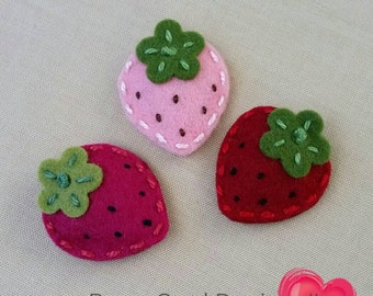 Bitty Strawberry Wool Felt Baby Snap Clip - Pick One - Tiny Bitty Berry