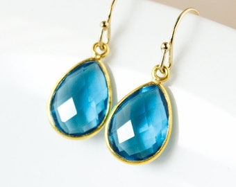 London Blue Quartz Dangle Earrings – 14K Gold Fill