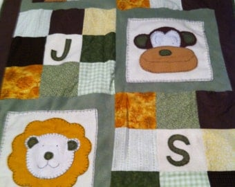 Zoo-Themed Baby Quilt with Baby's Inititals - Earthen / Neutral Colors