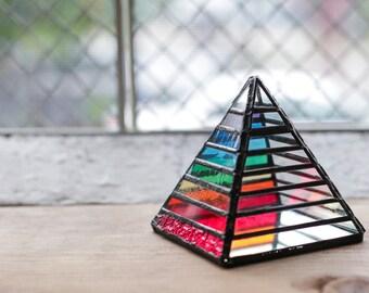 Rainbow Chakra Stained Glass Pyramid