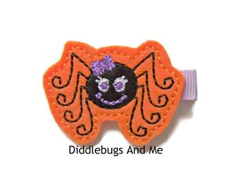 Black Spider Hair Clip, Spider Hair Clip, Girls Spider Hair Clip, Halloween Hair Clip, Orange and Black Spider Hair Clip, Halloween Spider