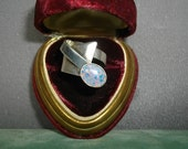 Sterling And Opal Modernist  Ring