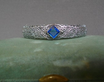 Art Deco Rhodium Filigree Blue Sapphire Paste Stone Hinged Bracelet Wedding Jewelry Heirloom Free Shipping To The Usa And Canada