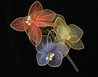 1940's Milliner's Corsage Brooch, Tulle on Wire