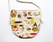Fabric Crossbody Bag / Zipper Bag / Pouch Bag - Mushrooms - Choose Cotton Strap Color of Your Choice