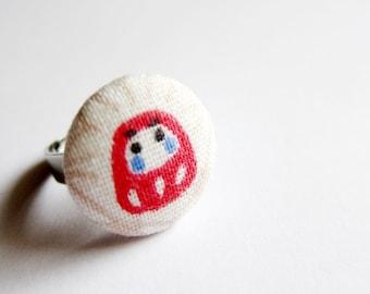 Fabric Button Ring - red daruma