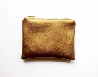 SPECIAL EDITION Faux Leather Zipper Coin Purse in BRONZE - Small - Simple and Classic Zipper Pouch in Faux Sheepskin