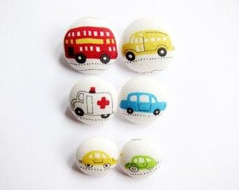 Sewing Buttons / Fabric Buttons - 6 Fabric Buttons Set - Fun Vehicles