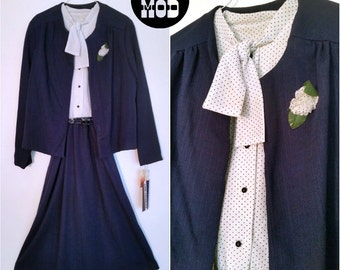 Cute Navy Blue and White Polkadot Vintage Dress Set with Matching Buttoner Flower!