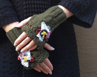 40% OFF SALE!!! Faith Knit and Crochet Fingerless Gloves Version 5 Green Wool with Lace and Ribbon
