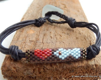 for her or him - unisex surfer bracelet with genuine sea glass from Amalfi coast on waxed cotton - LOVE FISHING