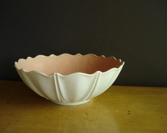 Pink and White - Vintage Milk Glass Serving Bowl - Anchor Hocking