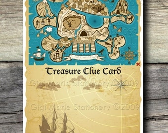 DIGITAL BOY Pirate and GIRL Pirate Treasure Hunt Clue Cards - Instant Download