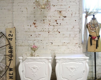 Painted Cottage Chic Shabby  of Romantic French Night Tables NT813