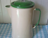 Vintage cream and green enamel 10 cup coffee pot percolator - graniteware basket & stem – gorgeous farmhouse kitchen or glamping accessory