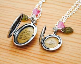 Mom and Daughter Locket Set - There's this girl who stole my heart, she calls me mom - Mom loves me - Back to school